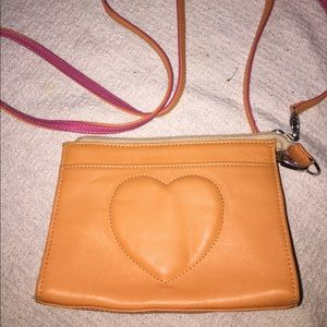 Brighton Small Tan Leather Heart Bag Like New